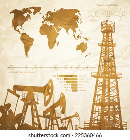 Oil industry infographics over old paper background. Vector illustration.