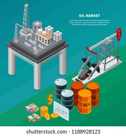 Oil industry isometric composition with refinery sea platform pumpjack canisters money 3d isometric vector illustration