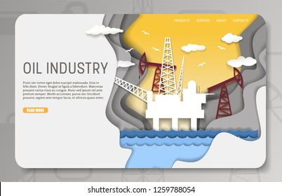 Oil industry landing page website template. Vector paper cut offshore oil platform with drilling rigs, pumps. Crude oil extraction concept.