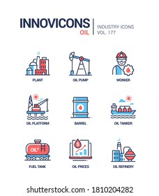 Oil industry - line design style icons set. Procession and transportation of petroleum products. A collection with a plant, pump, worker, platform, barrel, tanker, fuel tank, prices, refinery images