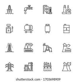 Oil industry line icons set. linear style symbols collection, outline signs pack. vector graphics. Set includes icons as oil platform, refinery factory, gas drilling rig, fuel barrel, gas station