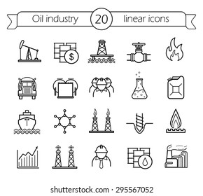Oil industry linear icon set. Gas production, transportation, storage vector line art