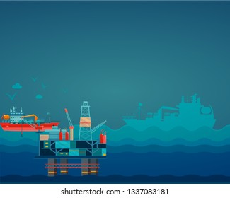 oil industry In the middle of the sea, tanker silhouettes. Detail vector illustration.