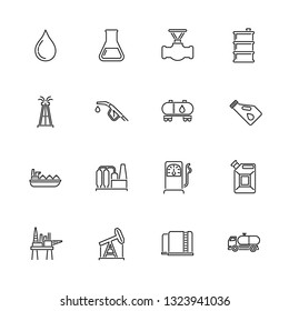 Oil Industry outline icons set - Black symbol on white background. Oil Industry Simple Illustration Symbol - lined simplicity Sign. Flat Vector thin line Icon - editable stroke