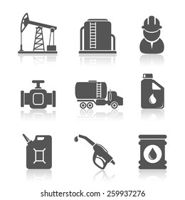 Oil industry petroleum processing icons set