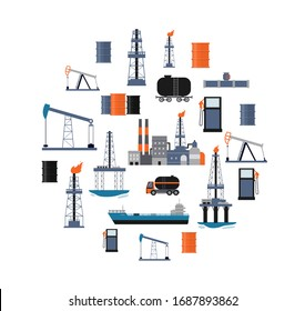 Oil industry poster with factory buildings, drilling machinery and cargo transport in circle shape isolated on white background. Industrial flat vector illustration.