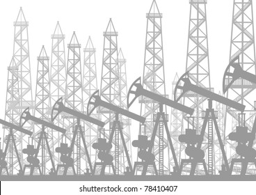 Oil industry. Oil rigs and oil pumps pump oil.