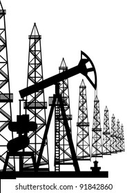 The oil industry. Oil rigs and oil pumps oil pump. Black and white illustration