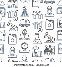 Oil industry seamless pattern with thin line icons: gas, petroleum, diesel,  truck, tanker, ship, refinery, barrel. Modern vector illustration.