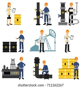 Oil industry set, extraction, production, refinery and transportation oil and petrol vector Illustrations