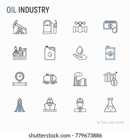 Oil industry thin line icons set: gas, petroleum, diesel,  truck, tanker, ship, refinery, barrel. Modern vector illustration.