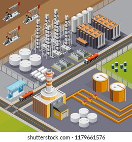 Oil industry and transportation composition with big refinery and pumpjacks 3d isometric vector illustration