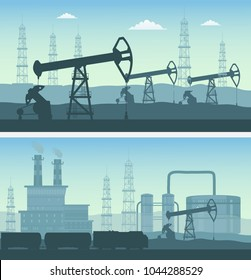 Oil industry transportation horizontal banners