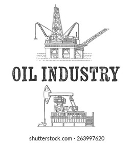 oil industry, vector hand drawn
