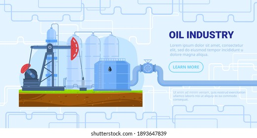 Oil industry vector vector illustration. Cartoon flat refinery factory with drilling rig tower pump jack station, oil tank storage, industrial pipeline. Oil extraction, production, pumping technology