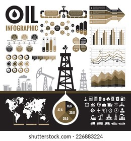 Oil industry - vector infographic elements for presentation, booklet and other design project. Production, transportation and refining of fuel - infograph set. Included 32 icons.