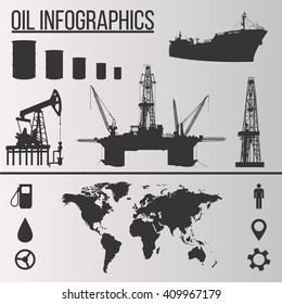 Oil industry vector infographic elements presentation, booklet and other design project. Production, transportation and refining of oil infographic vector set