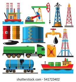 Oil industry vector with production oily transportation oiled objects and elements illustration isolated on white.