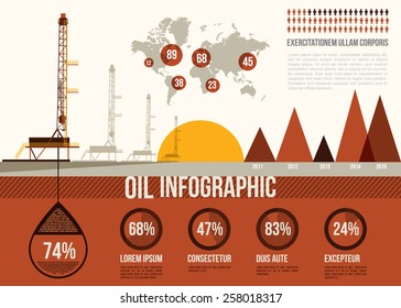 Oil Infographic. Oil and gas rig with map of the world