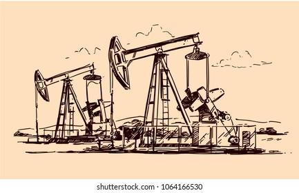 Oil Jack Pump Sketch