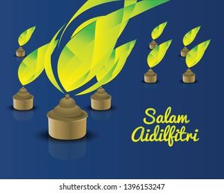 Oil lamp for Salam Aidilfitri - Greeting Aidilfitri.