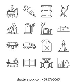 Oil line icon set. Included the icons as tank, pipe, oil rig, oil wells, fuel, storage and more.