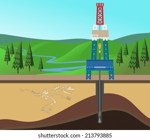 Oil mining site with drilling tower on a Earth's crust section shown oil field. EPS8 Vector illustration.