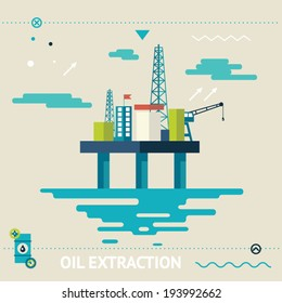 Oil Offshore Platform Colloquially Rig Symbol Ocean Sea Extraction Modern Flat Design Template Vector Illustration