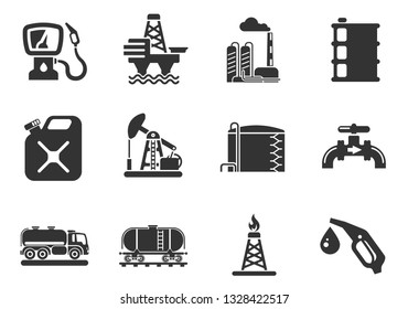 Oil and petrol industry objects simply symbols for web and user interface
