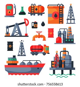 Oil petroleum extraction processing transportation recovery industry refinery fuel gas drilling industrial pump vector illustration