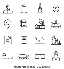 Oil and petroleum industry linear icons set. Line with editable stroke