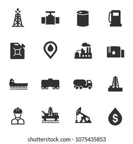 Oil and petroleum industry, monochrome icons set. simple symbols collection