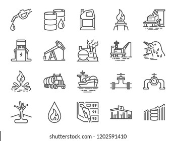 Oil and Petroleum line icon set. Included icons as power, fuel, energy, gas station, crude oil and more.