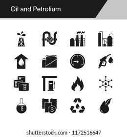 Oil and Petrolium icons. Design for presentation, graphic design, mobile application, web design, infographics. Vector illustration.