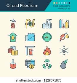 Oil and Petrolium icons. Filled outline design collection 15. For presentation, graphic design, mobile application, web design, infographics. Vector illustration.