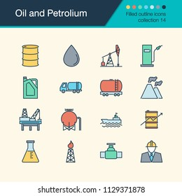 Oil and Petrolium icons. Filled outline design collection 14. For presentation, graphic design, mobile application, web design, infographics. Vector illustration.