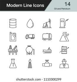Oil and Petrolium icons. Modern line design set 14. For presentation, graphic design, mobile application, web design, infographics. Vector illustration.