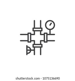 Oil pipe and pressure gauge outline icon. linear style sign for mobile concept and web design. Pipeline simple line vector icon. Symbol, logo illustration. Pixel perfect vector graphics