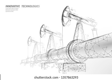 Oil pipeline low poly business concept. Finance economy polygonal petrol production. Petroleum fuel industry transportation line connection dots white vector illustration
