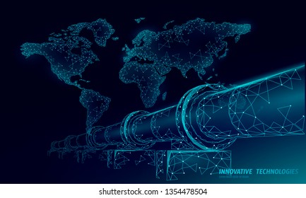 Oil pipeline world map business concept. Finance economy polygonal petrol production. Petroleum fuel industry transportation line connection dots blue vector illustration