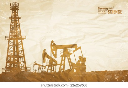 Oil plant design on the ond paper texture. Vector illustration.