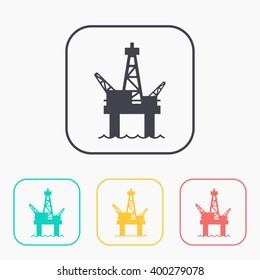 Oil platform color icon set