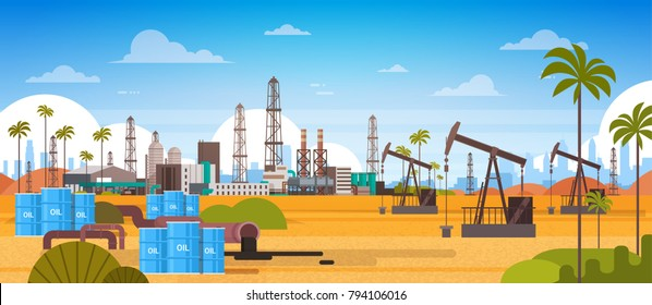 Oil Platform In Desert East Petrolium Production And Trade Concept Flat Vector Illustration