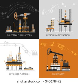 Oil platform design concept set with petroleum flat icons isolated vector illustration