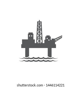 Oil platform flat icon on white background