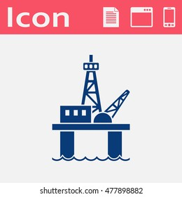 Oil platform flat vector icon