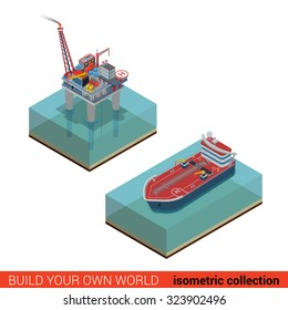 Oil platform with helipad helicopter platform transport tanker in sea ocean. Oil production process cycle. Oil extraction derrick, refinery, logistics delivery collection.