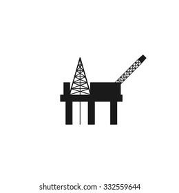 Oil platform icon. Flat design style eps 10