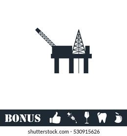Oil platform icon flat. Vector illustration symbol and bonus pictogram