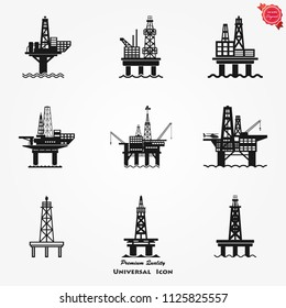 Oil platform icon gas Sea Rig Platform Illustration, fuel Production Symbol.
